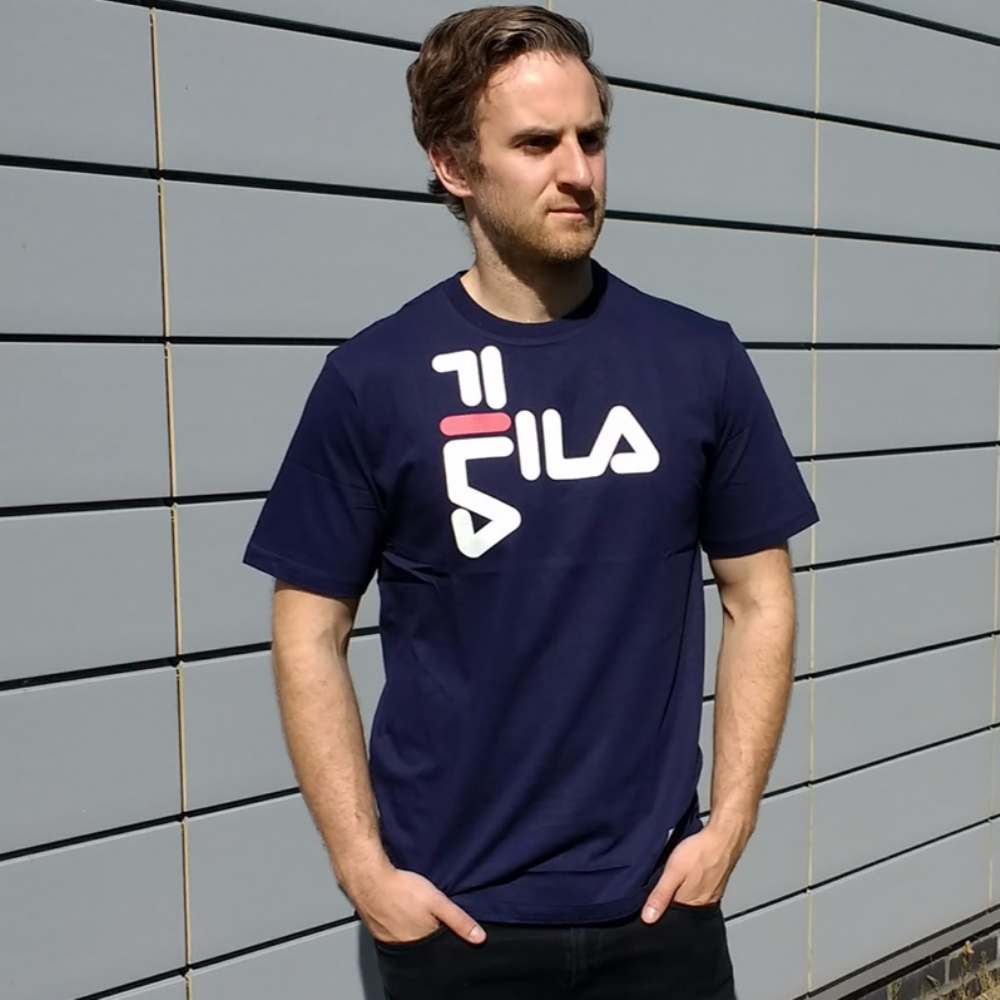 Fila Black Line Diago Cotton Jersey/ Tee Shirt in Blue