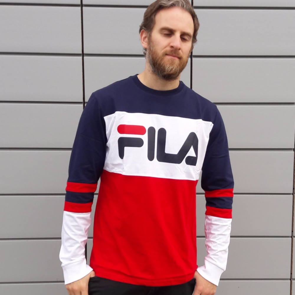 Fila Black Line Dylan Long Sleeved Tee Shirt Peacoat
