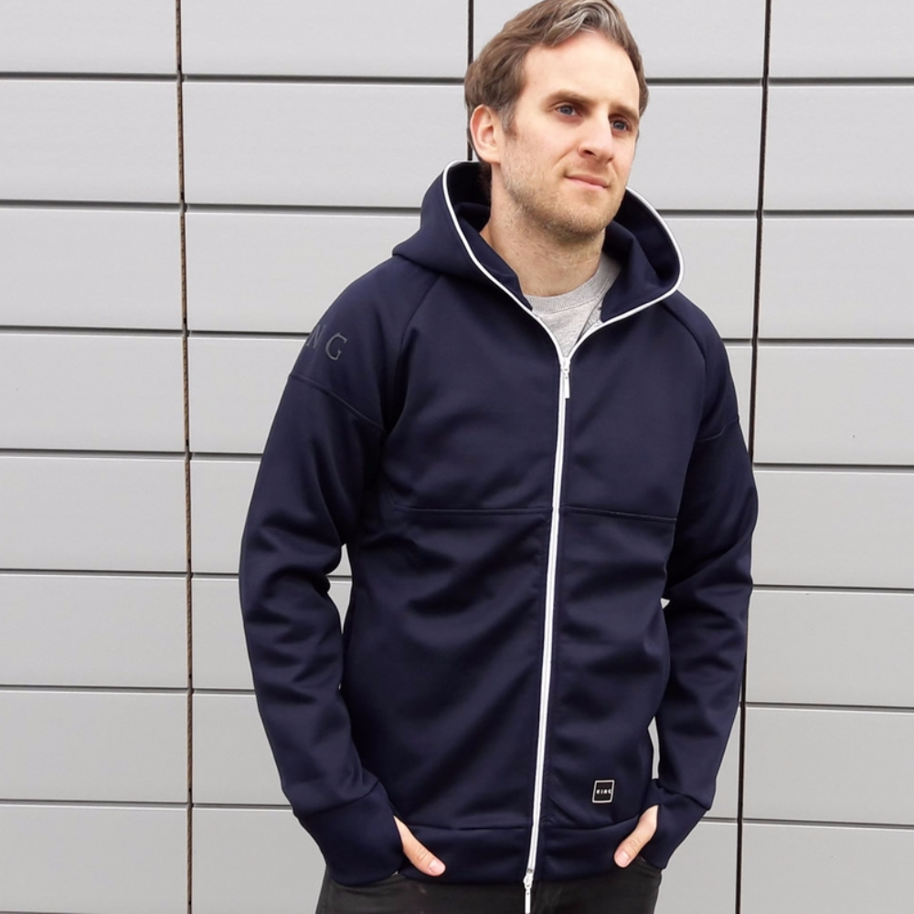 King Apparel Leyton Tech Full Zip Hoodie Ink Blue