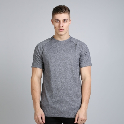King Apparel Vent Zip Tee Shirt Longline Grey Heather