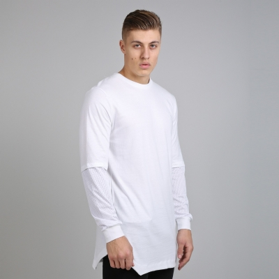 King Apparel Perf Longsleeved Longline Tee Shirt White