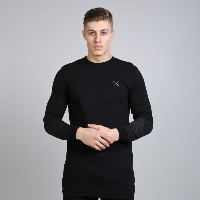 King Apparel Perf Longsleeved Longline Tee Shirt Black