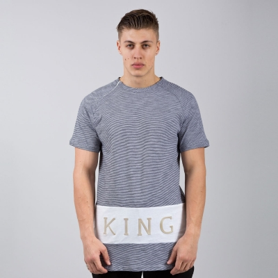 King Apparel Panel Up Tee Shirt Longline Navy and Heather