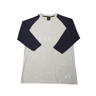 King Apparel Staple 3/4 length sleeve tee shirt heather and navy