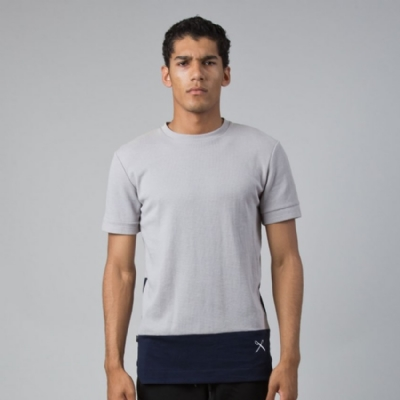 King Apparel Waffle Midline Teeshirt grey and navy