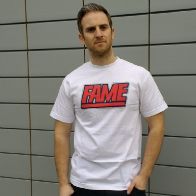 Hall of Fame White Chenille Fame Block Tee Shirt