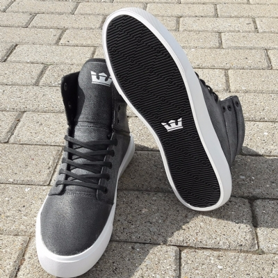 Supra Camino Washed Grey Waxed Canvas Hi Top Trainers