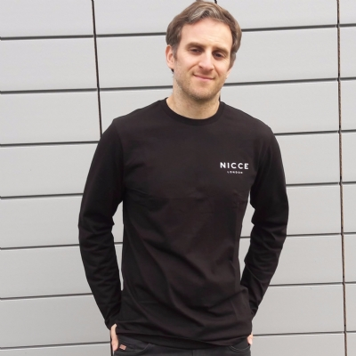 Nicce Original Logo Long Sleeved Tee Shirt Black